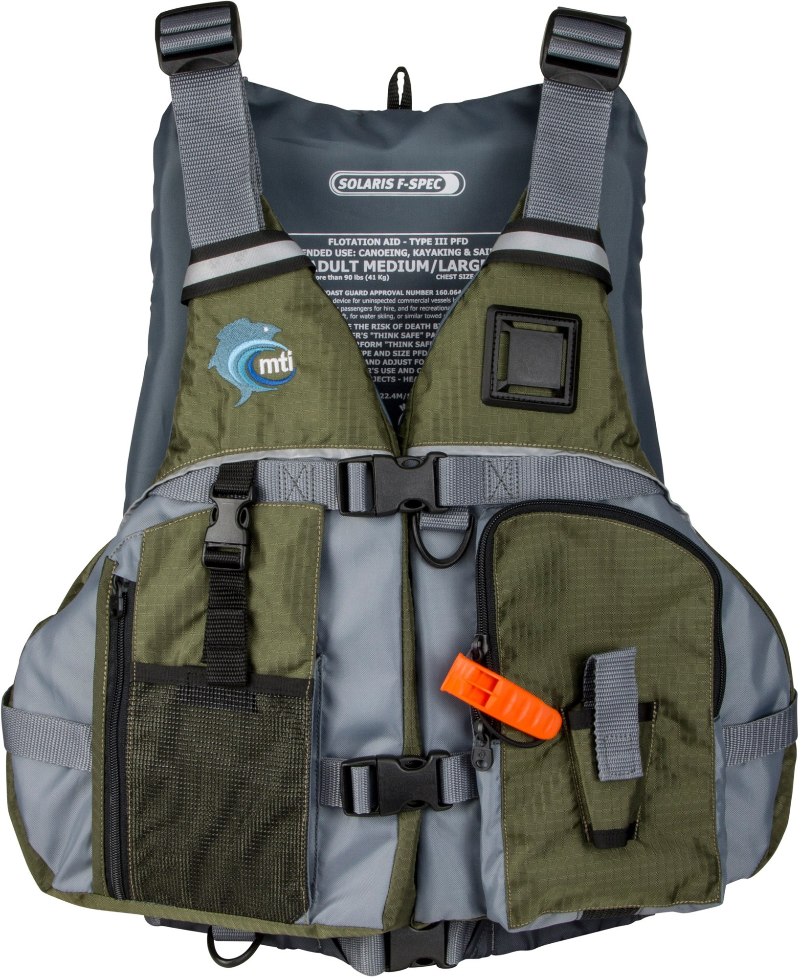 MTI Solaris Fishing-Specific PFD - Olive Drab/Gray
